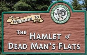 Sign announcing hamlet of Dead Mans Flats