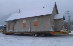 Side View of Church on Trailer